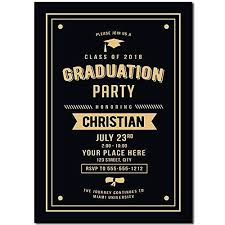 Senior Party Invitations Black And Gold Graduation Party Invitation