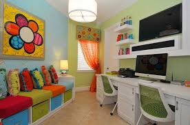 creating a small home office. Small Home Office And Playroom Combo With Plush Seating Built-in Storage [Design Creating A