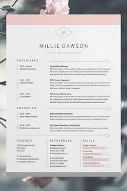 Free Resume Template Indesign Millie ResumeCV Template Word Photoshop InDesign 63