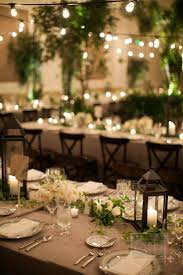An indoor garden with potted trees, ferns, downtown abbey inspired  arrangements with lanterns and