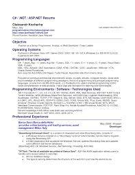 sample resume for net developer over year exp cipanewsletter cover letter c programmer resume embedded c programmer resume c