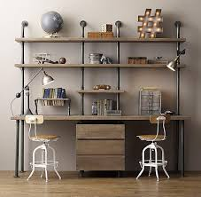 pipe double desk wood shelving with drawers