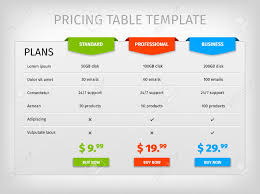 Pricing Template For Services Comparison Of Services Web Pricing Table Template For Business