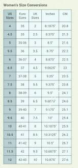 Womens Slipper Size Chart Womens Conversion Chart Converts Shoe Sizes Into Inches