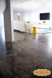 stained concrete floors in the basement