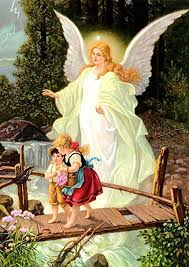 guardian angel crossing bridge with children canvas print catholic picture painting angels wall decor