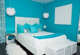 Luxury Light Blue Bedroom Interior Design Ideas For Teenage Girls With  Light Blue Wall Paint Color Combine With White Bed Also White Fur Rug Above  Black ...