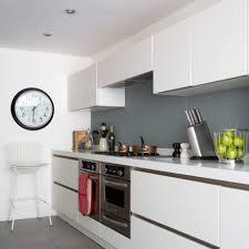 Splashback White Kitchen Modern White Kitchen With Glass Splashbacks In Smart Grey Ideal Home