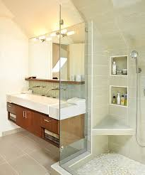 bathrooms stunning bathroom with classy floating sink cabinet and large wall mirror close to glass