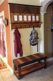 Coat Rack With Seat Pallet coat rack and bench Jen Bubba projects Pinterest Pallet 59