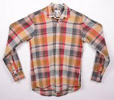 steven alan men s sz extra small xs orange red brown plaid long sleeve usa shirt