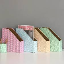 Decorative Filing Boxes Recycled Pastel Geometric Print Magazine File By Heart Parcel 91