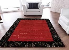 rugsville gabbeh tribal red black wool rug 13206