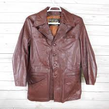vintage men s leather jacket brown red 3 4 donnie brasco style 70s sz 38r m