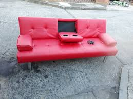 red leather sofa bed with built in speakers blue tooth phone adapter memory card