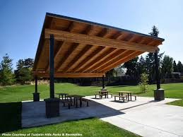 What is a pavilion Cedar Pavilion With Attractive Glulam Beams And Steel Posts Romtec Standard Pavilions And Shelters Romtec Inc
