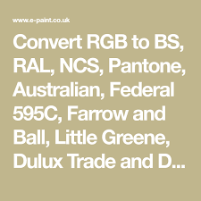 Ral To Pantone Conversion Chart Convert Rgb To Bs Ral Ncs Pantone Australian Federal