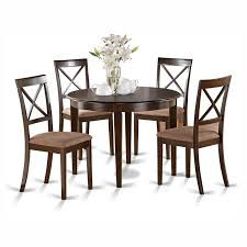 East West Furniture Boston 5 Piece Round Dining Table Set With