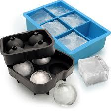 igadgitz home silicone ice cube tray 6x extra large square ice ball mould 4x sphere