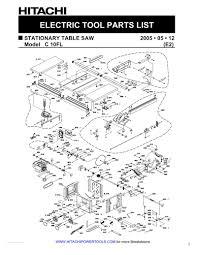 hitachi table saw c10fl. tool diagram hitachi table saw c10fl