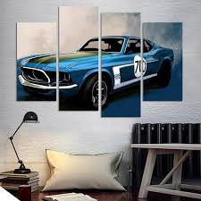trendy inspiration car wall art home decorating ideas 4 pcs blue sports painting decoration living room