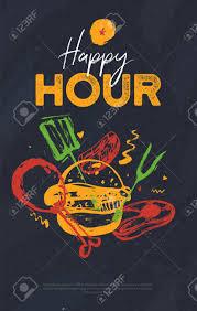 Happy Hour Flyer Bbq Happy Hour Flyer Banner On Grunge Pub Pattern Dark Poster