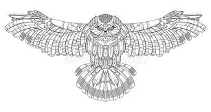 owl coloring book for s vector stock vector ilration of ethnic antistress
