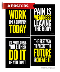 Gym Inspirational Posters Motivational Fitness Workout And Pain Quotes 8x10 Inch Set Of 4