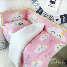 44 clouds with smiling faces printed 3 piece crib bedding sets