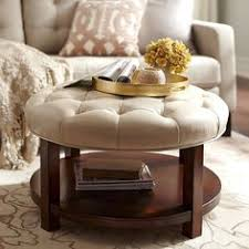 round leather ottoman coffee table. Liard Ivory Round Cocktail Ottoman Leather Coffee Table