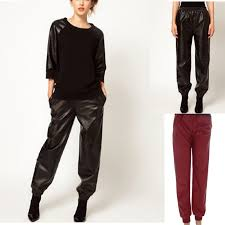 free black loose harem faux leather sweatpants joggers plus size pants on high street fashion women