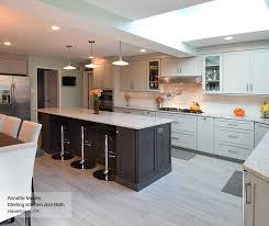 Light Grey Kitchen With Dark Grey Island Cabinets Masterbrand