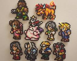 final fantasy 7 perler bead art fridge magnets ff7 8 bit pixels cloud tifa barrett aeris vincent yuffie cait sith sephiroth red