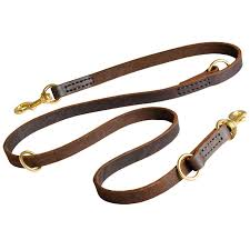 leather adjustable dog lead