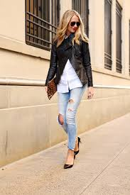 white shirt with jeans jacket