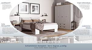 Schlafzimmer Komplett Set C Segnas 4 Teilig Farbe Kiefer Weiß