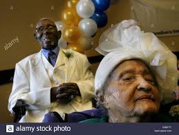 105 year old Lillian Walton foreground and 100 year old Zack Nickson Stock  Photo - Alamy