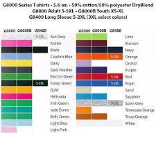 Gildan G8000 Color Chart Gildan 100 Cotton T Shirts Multiple Color Options Available
