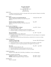 Occupational Therapy Resume Resume Templates