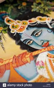 lord krishna depicted on an indian oil painting on canvas