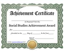 Printable Achievement Certificates Free Printable Social Studies Achievement Award Certificates