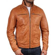men s tan leather biker jacket monaco