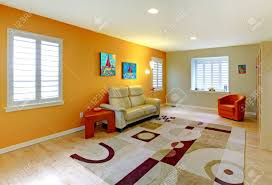 Kids Living Room Living Room With Play Area For Kids In Orange Stock Photo