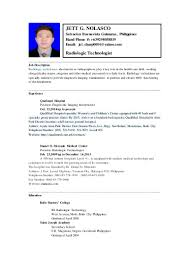 Sample Resume Medical Technologist Laboratory Technician Sample