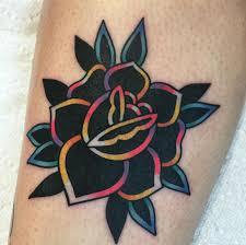 цветная тату сердце растения цветы на ногу спину голову руку