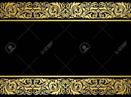 Gilded Design Floral Border With Gilded Elements In Retro Style For Embellishment