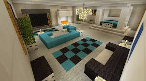 Minecraft Living Room Designs Minecraft Bedroom With Living Area Furniture And Canopy Bed And