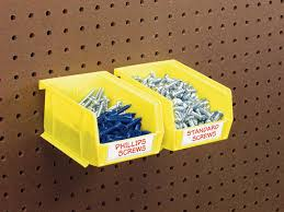 Pegboard storage bins Triton Products Yhst815634361815182269346816244 Car Guy Garage Twentyfour Medium Yellow Hanging Pegboard Bins