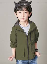 solid color regular hooded boy s trench coats