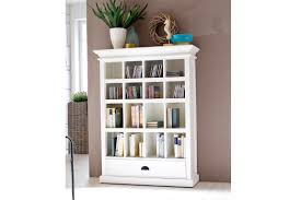 large white stand alone bookcase with glass doors and drawer impressive white bookcase with doors